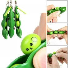 Stress Relief Fidget Toy Game Squeeze Pea Bean Pea Pod Keychain Phone Charm Gift