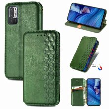 Xiaomi Redmi Note 10 5G Case Premium PU Leather Folio Cover Magnetic Green
