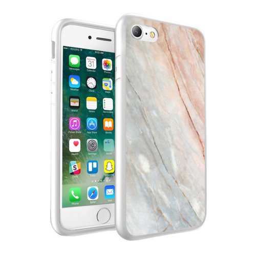 i-Tronixs - Clear & Beige Marble Design Printed Case Skin Cover - 058
