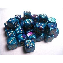 Chessex Dice D6 Sets Gemini Purple & Teal with Gold - 12Mm Six Sided Die (36) Block of Dice