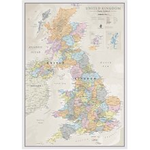 Classic UK Wall Map Of The UK Poster Front Lamination A1 84 x 59cm
