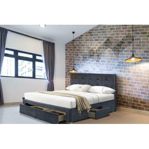 Shanghei 4 Drawer Velvet Bed Frame with Ivy Mattress