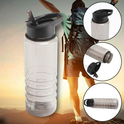 700ml Sport Water Flip Drinks Cycling Hiking Running Gym Hydration Straw Bottle