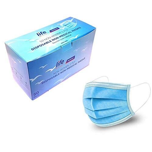 LIFE Healthcare Face Masks 3-ply disposable, Box of 50, UK brand