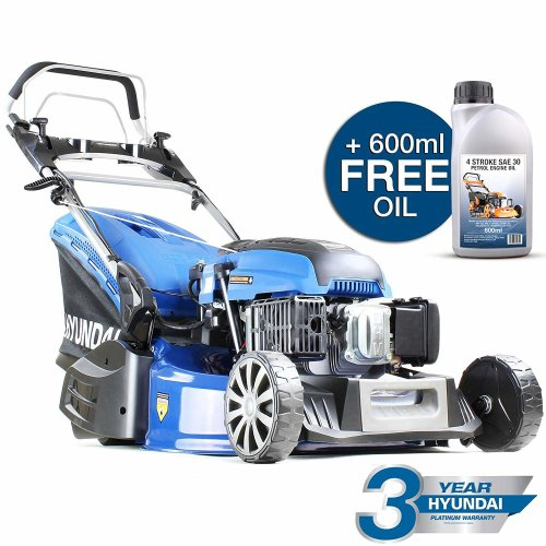 Hyundai HYM530SPER 173cc Petrol Lawnmowers Self Propelled Push Button Electric Start 21 Inch 52.5 Centimetre Cutting Width Rear Roller Mower, Steel Deck, Included Engine Oil