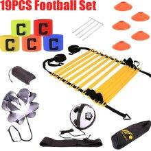 19pcs Agility Hurdles Poles Cones Ladders Football Training Equipment