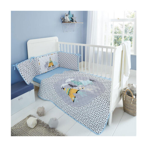 (Mountain Adventure) Kids Cot Bed Bumper Set Soft Cosy Coverlet Premium Quilted Jersey Fitted Sheet