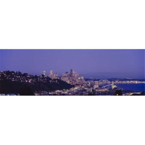 City skyline at dusk  Seattle  King County  Washington State  USA Poster Print by  - 36 x 12