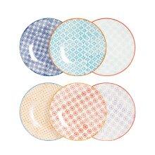 Patterned Dessert Side Wedding Porcelain Kitchen Plates - 6 Designs - 180mm x6