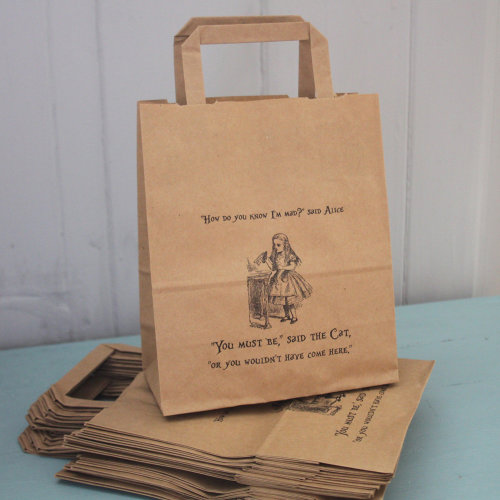 Alice in Wonderland Party Bags Kraft with Handles x 10 Wedding / Mad Hatters