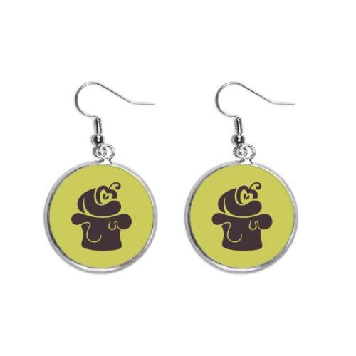 Cherry Ice Cream Black Silhouette Ear Dangle Silver Drop Earring Jewelry Woman