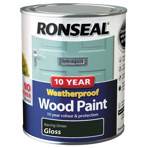 (Racing Green Gloss) Ronseal Weatherproof No Primer Exterior Wood Paint 750ml