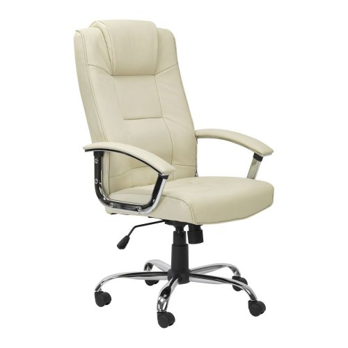 ALPHASON Houston Leather Reclining Executive Chair - Cream, Cream
