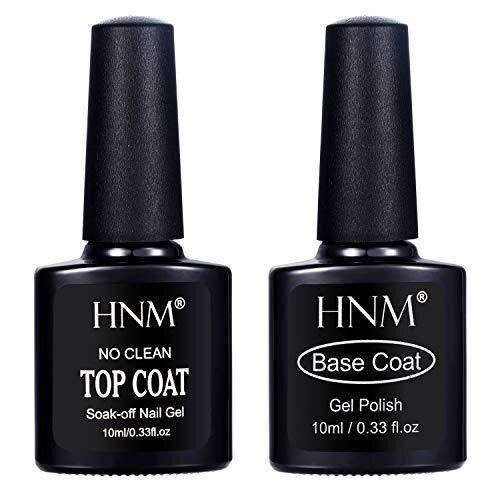 HNM Gel Nail Polish Base Gel No Wipe Top Coat Set UV LED Soak Off Gel Nail Varnish Gloss Nail Art Salon Manicure Pedicure Lacquer 10ML
