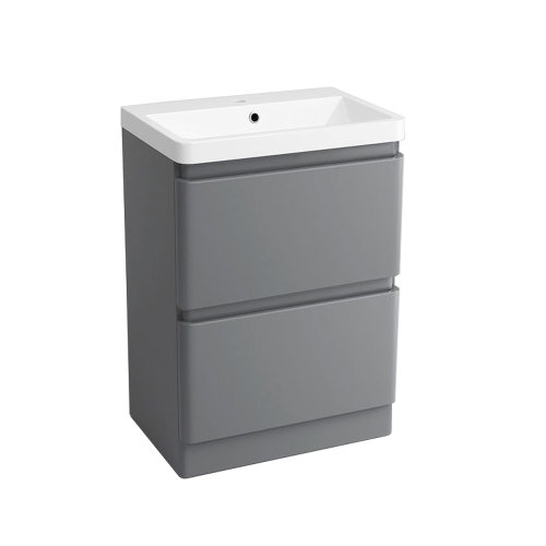 Floor Standing Drawer Vanity Unit Basin Bathroom Storage Furniture 600mm  Gloss Grey