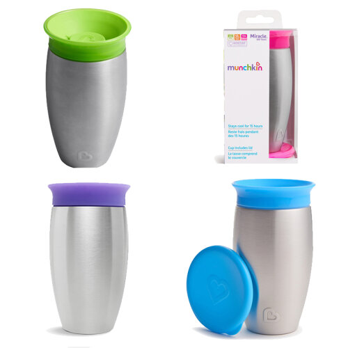 Munchkin Miracle 360 Stainless Steel Sippy Cup 296ml 4 Pack All 4 Colours