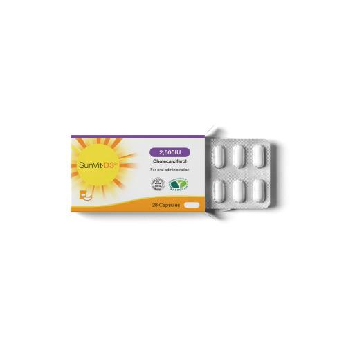 SunVit-D3 2500 IU Vitamin D3 Capsules | Strengthens immune system