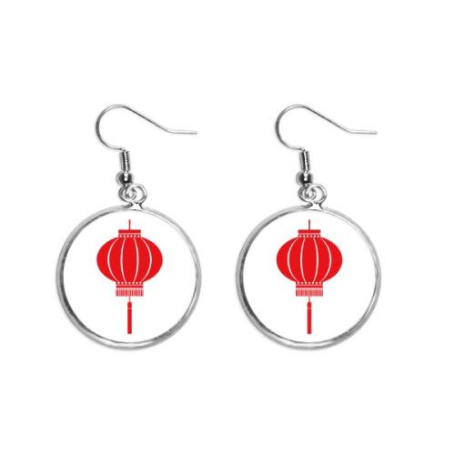 Red Traditional Chinese Lantern Pattern Ear Dangle Silver Drop Earring Jewelry Woman