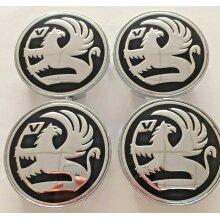 Set of 4 Black Vauxhall 68mm Alloy Wheel Badge Center Caps