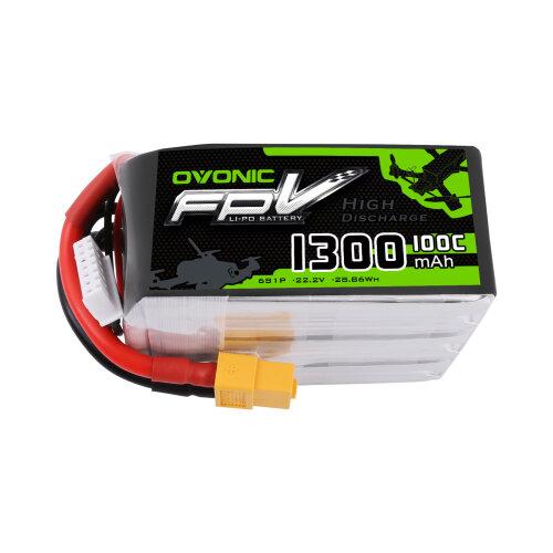 Ovonic 1300mAh 22.2V 6S 100C Lipo Battery with XT60 Plug