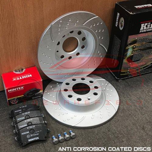 FOR AUDI SEAT SKODA VW REAR KINETIX DIMPLED GROOVED BRAKE DISCS MINTEX PADS 282m