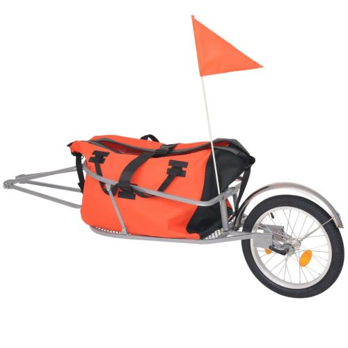 2-in-1 Bike Luggage Trailer with Bag Bicycle Utility Suitcase Cargo Cart Orange