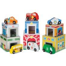 Melissa & Doug Nesting and Sorting Blocks – 6 Buildings, 6 Wooden Vehicles