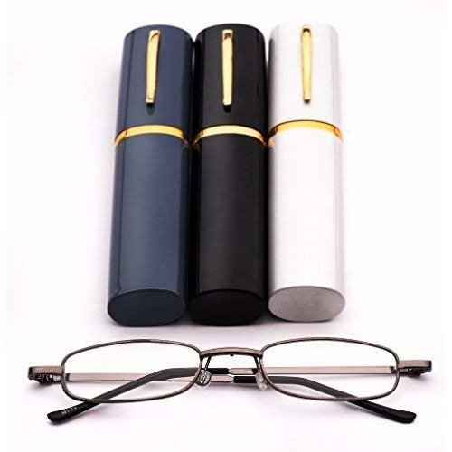 (Grey Frame with Black Case, 1) MT74 Pen Holder Grey Frame Compact Reading Glasses with Case with 12 Lens Strength Variations Up to +3.75
