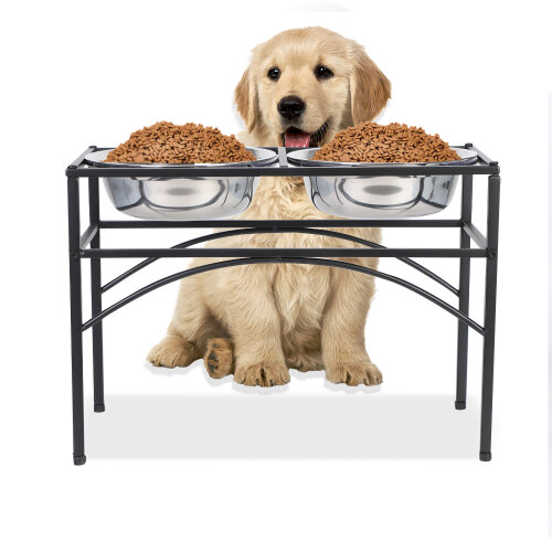 Double Elevated Stand Bowl Dog Pet Puppy Feeder Bowl Food Water Stand