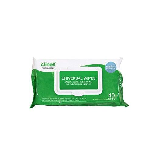 Clinell - Universal Cleaning and Surface Disinfection Wipes - Multi Purpose Disinfectant Wipes, Fast and Effective in 10 Seconds - Pack of 40 Wipes
