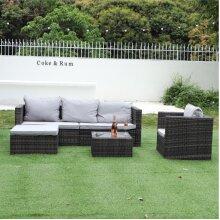 5 Seat Garden Rattan Modular Furniture Set With Table