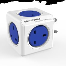 PowerCube UK Power Adapter with 5-Way Socket - Blue