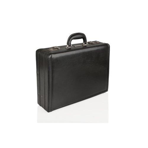 """Woodland Leather Black Attache 18"""" Multi Compartments"""