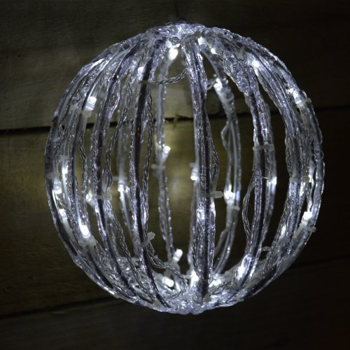 """30cm (12"""") Acrylic Ball Christmas Decoration With Cool White LED Lights"""