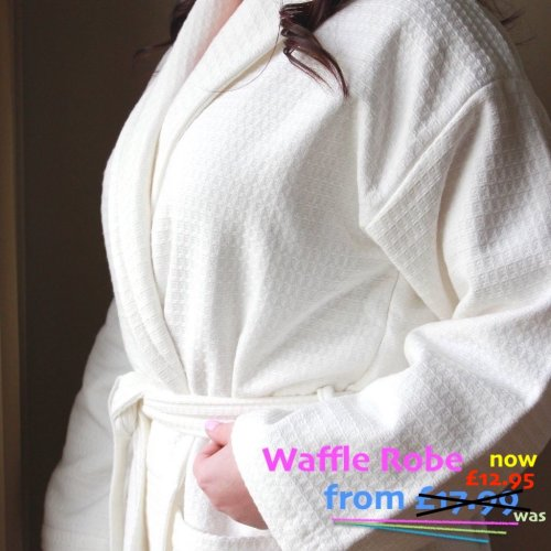 Waffle Weave bathrobe Night  Dressing Gown 100% Cotton White