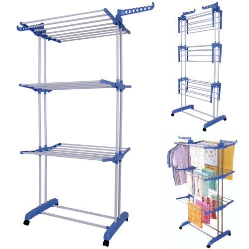 3 Tier Indoor Outdoor Clothes Airer Laundry Drye Foldable Extra Large