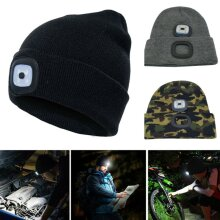 Unisex LED Light Winter Warmer Knitted Beanie Hat Thermal Stretch Lighting Caps