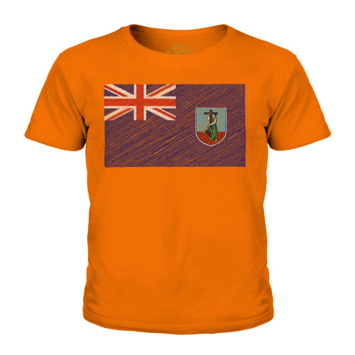 (Orange, 9-10 Years) Candymix - Montserrat Scribble Flag - Unisex Kid's T-Shirt