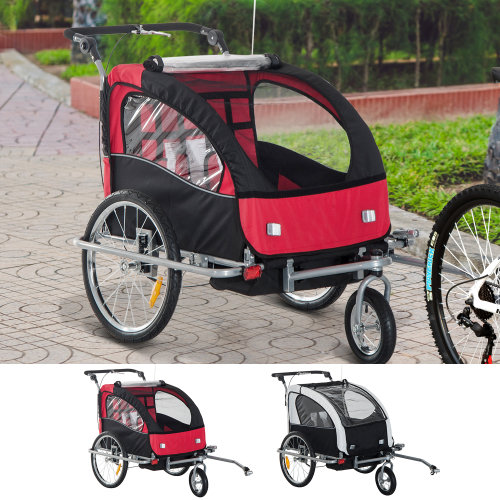 (Black & Red) Homcom 2 in 1 Bicycle Child Carrier Baby Trailer