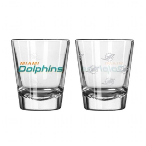 Miami Dolphins Shot Glass - 2 Pack Satin Etch - New UPC