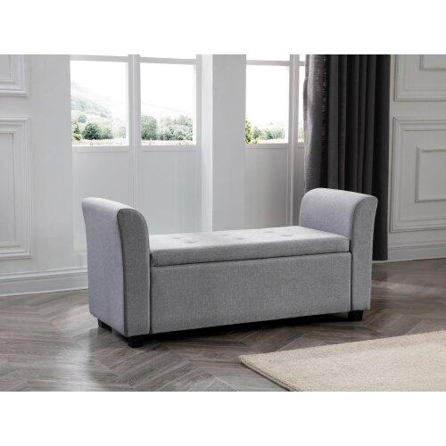 (Grey) Verona Linen Fabric Ottoman Window Storage Seat Bedding Blanket Box Hinged