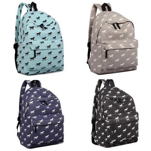 Miss Lulu Girls Boys School Bag Backpack Horse Flower Bird Butterfly Canvas