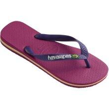 Havaianas Brasil Logo Flip Flops Raspberry Rose/Purple