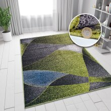 Green and Grey Blue Rug Patterned Rugs Carpets Woven Low Pile Living Room Mat Small Large