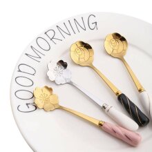 4PCS Fashion Stainless Steel Flower Shape Tea Coffee Spoons for Home Restaurant Birthday Anniversaries Party Festival