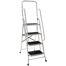 Home Discount White 4-Step Folding Ladder With Handrail