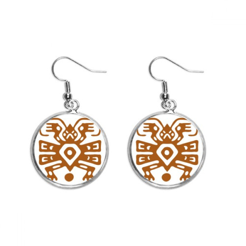 Mexico Totems Mexican Ancient Civilization Ear Dangle Silver Drop Earring Jewelry Woman