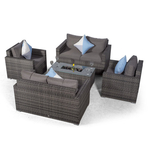 Sydney 6 Seater Loveseat & Armchair Conversation Set With Ice Bucket Coffee Table - Grey