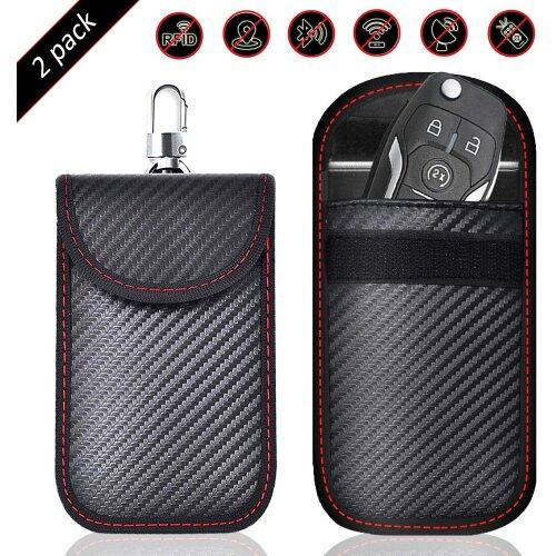 2 PACK Small Faraday Pouch For Car Keys Car Key Signal Blocking Bag Keyless Car Entry RFID Key Pouch Faraday Bag