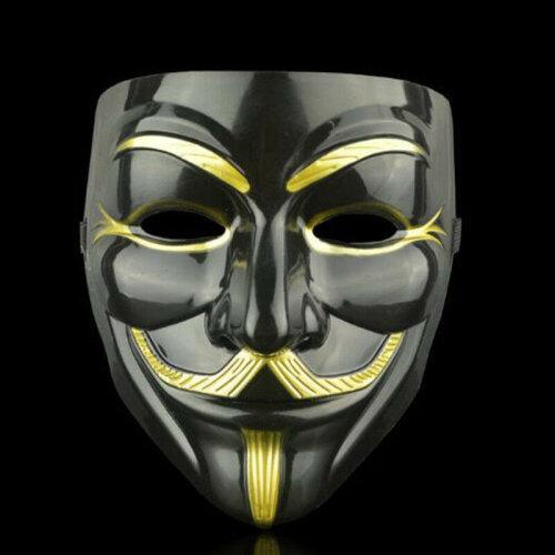 (Black & Eyeliner) Vendetta Guy Fawkes Hacker Face Mask Adults Halloween Fancy Party Cosplay